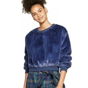 Wild Fable Blue Faux Fur Pullover Sweater - NWT